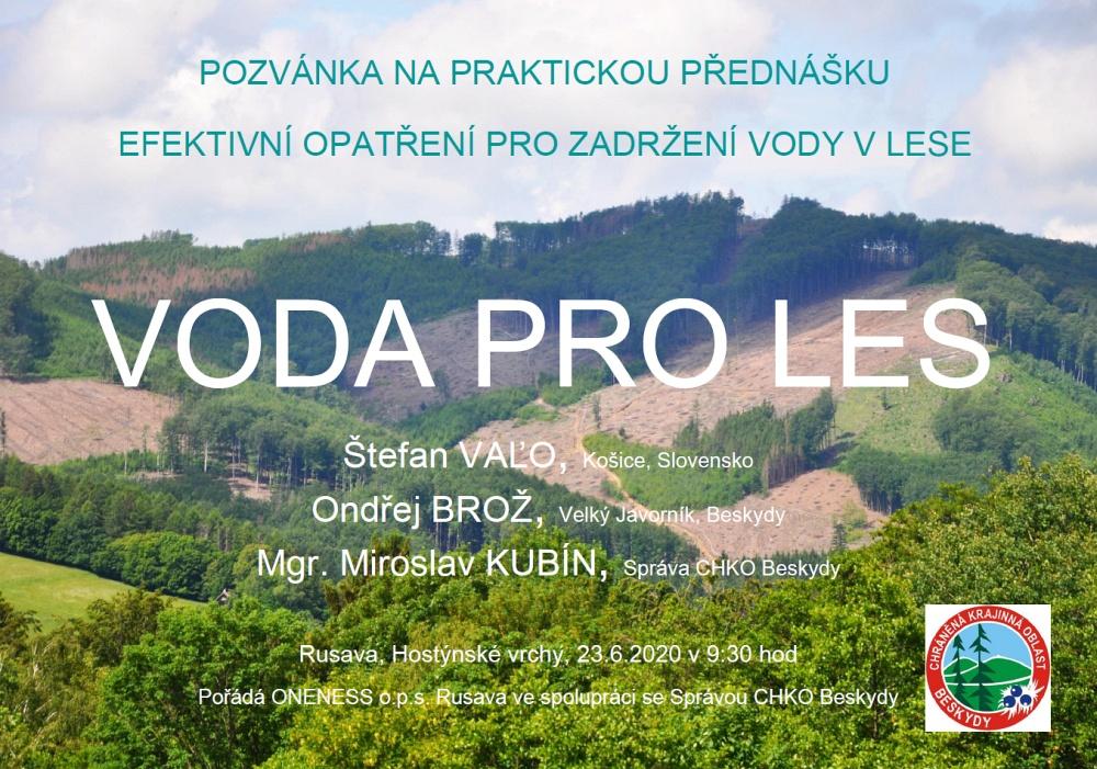 Přednáška VODA PRO LES, 23.6.2020